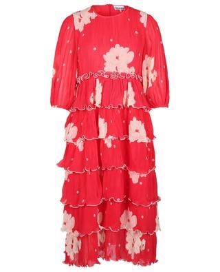 Midilanges Kleid aus plissiertem, geblümtem Georgette mit Rüschen GANNI