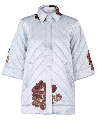 Quilted oversize jacket in floral satin with three-quarter sleeves GANNI