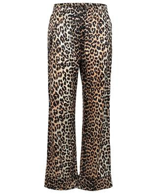 Leopard printed pyjamas spirit silk trousers GANNI