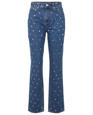 Nietenbesetzte gerade Jeans mit hoher Taille aus Bio-Baumwolle GANNI
