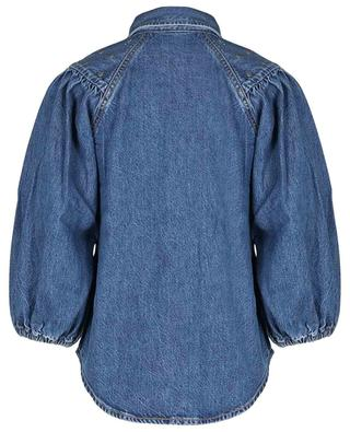 Stud adorned organic cotton denim balloon sleeve blouse GANNI