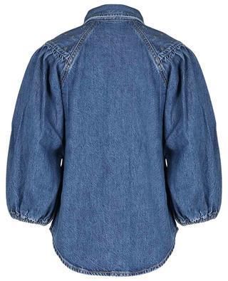 Stud adorned organic cotton denim balloon sleeve blouse GANNI