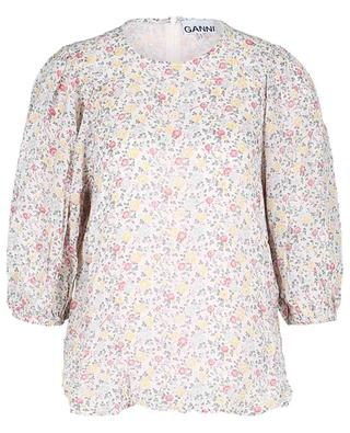 Egret floral georgette blouse with puff sleeves GANNI