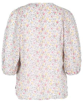 Bluse aus geblümtem Georgette mit Puffärmeln Egret GANNI