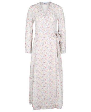 Midi-Wickelkleid aus geblümtem Georgette Egret GANNI
