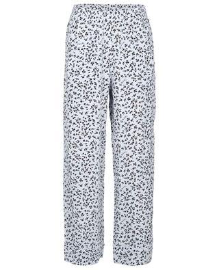 Responsible wide-leg pyjama spirit trousers with plant print GANNI