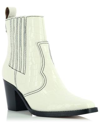 Belly Croc patent leather cowboy booties GANNI
