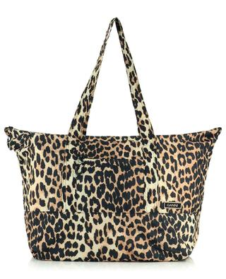Shopper aus recycletem Nylon mit Leopardenprint GANNI
