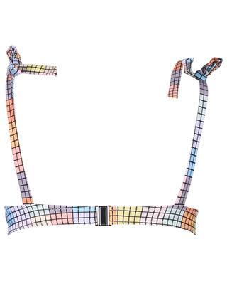 Haut de bikini imprimé carrés multicolores GANNI