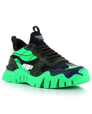 Sneakers aus neonfarbenem Leder Camouflage Rockrunner Plus VALENTINO