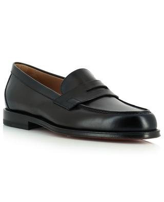 College shiny smooth leather penny loafers SANTONI