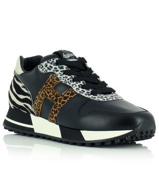Schwarze Ledersneakers mit Leo- und Zepraprints H383 HOGAN