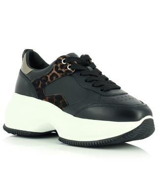 Sneakers aus Leder mit Leo-Kalbshaarleder und goldenem Leder Maxi I Active HOGAN
