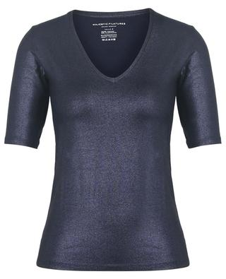 Superwashed Soft Touch fitted V-neck metallic jersey T-shirt MAJESTIC FILATURES