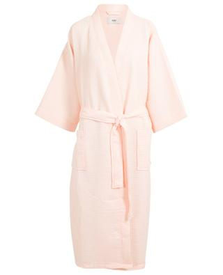 Waffle pink textured cotton blend bathrobe HAY