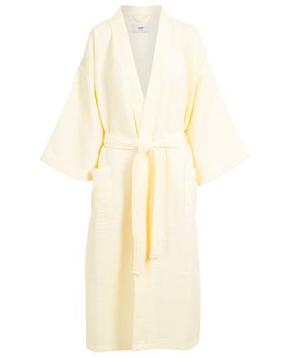 Waffle yellow textured cotton blend bathrobe HAY