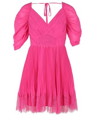 Fuchsia pleated chiffon mini dress with lace SELF PORTRAIT