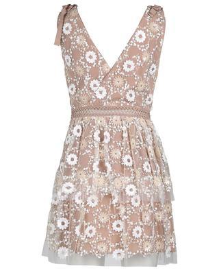 Kurzes Kleid mit Pailletten-Blüten-Stickereien SELF PORTRAIT