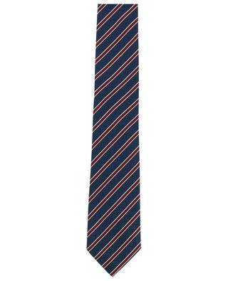 Textured check pattern glossy silk tie ERMENEGILDO ZEGNA