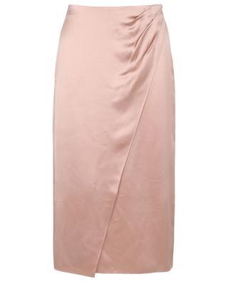 Silk satin wrap effect midi skirt with pleats VINCE
