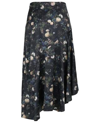 Rose Field printed asymmetrical tiered skirt in satin VINCE