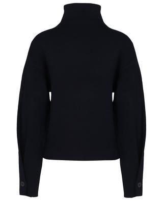 Soft jumper with mock collar and buttoned puff sleeves VINCE