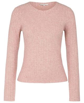 Rib knit sheath jumper with crewneck in wool and cashmere VINCE