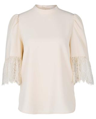 Crepe top with lace adorned three-quarder sleeves SEE BY CHLOE
