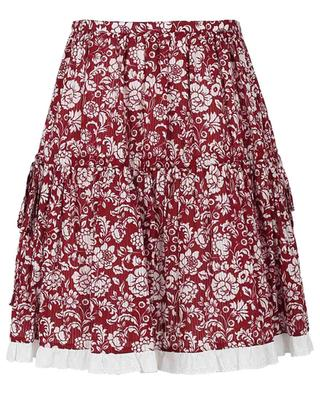 Graphic Peonies floral cotton flared miniskirt SEE BY CHLOE