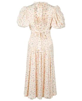 Robe midi à manches bouffantes en satin fleuri Dawn Novelle Peach ROTATE BIRGER CHRISTENSEN