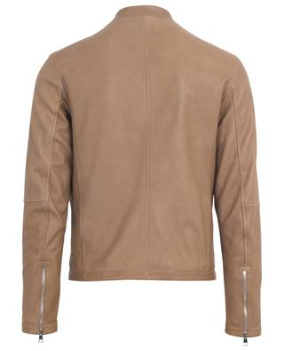 Rust lightweight zippered nappa leather jacket RUFFO