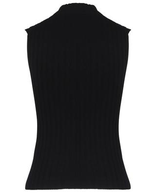 Cashmere sleeveless ribbed top with stand up collar VINCE
