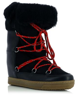 Nowly fur-trimmed suede and leather lace-up booties ISABEL MARANT