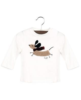 Langarm-Baby-T-Shirt mit Dackel-Applikation mit Schal IL GUFO