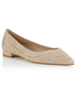 Pointy studded perforated suede ballet flats BONGENIE GRIEDER