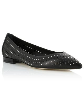 Studded perforated leather ballet flats with pointy tips BONGENIE GRIEDER