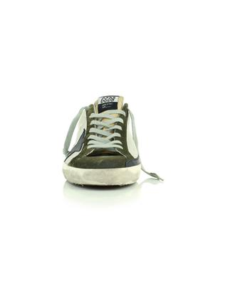 Sneakers aus silbernem Nylon, weissem Leder und Widleder in Khaki Superstar Classic GOLDEN GOOSE