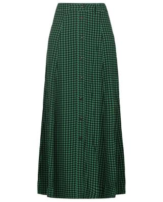 Checked viscose button-up skirt GANNI