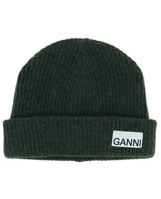 Bonnet côtelé en laine recyclée GANNI