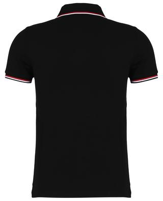 Logo embroidered slim fit polo shirt with blue-white-red detail MONCLER