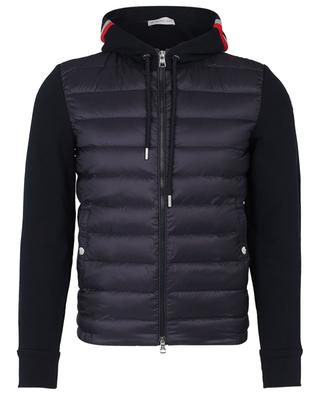 Sweat jacket with light reflecting hood and down yokes MONCLER