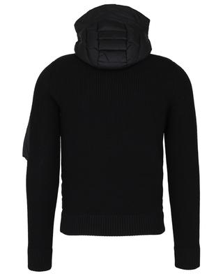 Hooded rip knit cardigan with down yoke MONCLER
