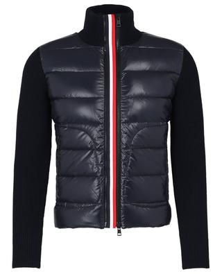 Cardigan with adjustable tricolour zipper and down yokes MONCLER