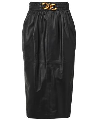 Leather pencil skirt with chain detail N°21