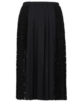 Poplin and lace panelled pleated midi skirt N°21