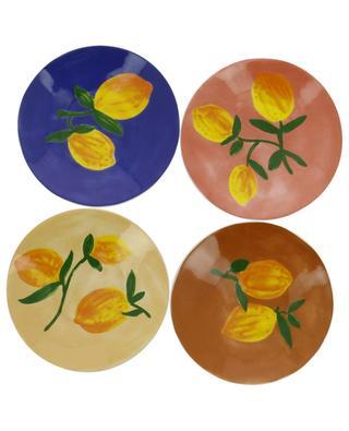 Set aus vier Steingut-Tellern Zitrone KLEVERING
