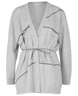 Embroidered virgin wool, silk and cashmere blend cardigan FABIANA FILIPPI