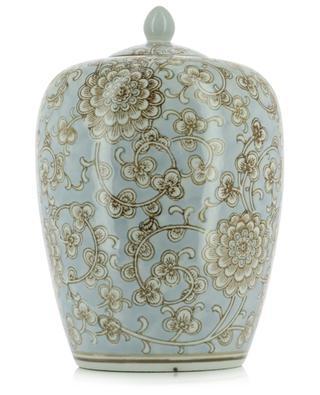 Vase aus geblümter Porzellan mit Deckel KERSTEN