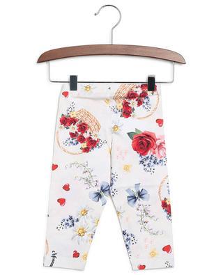 Flower basket printed jersey leggings MONNALISA