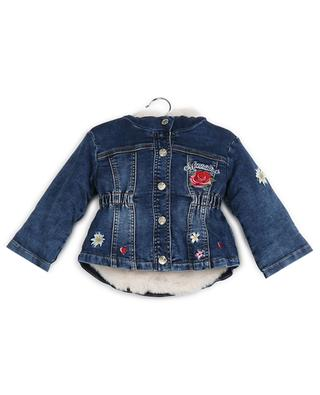 Lined denim jacket with flower patches MONNALISA